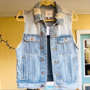 NWT Thread & Supply distressed jean vest